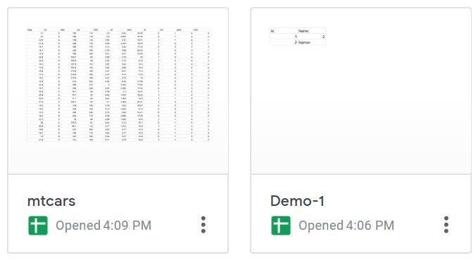 Google sheet files