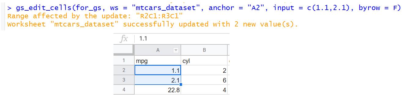 make changes in Google sheet using R code