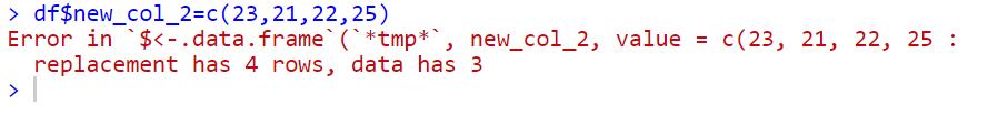 adding new column dataframe r error