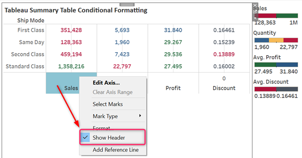 Hide Axis Label in Tableau Table